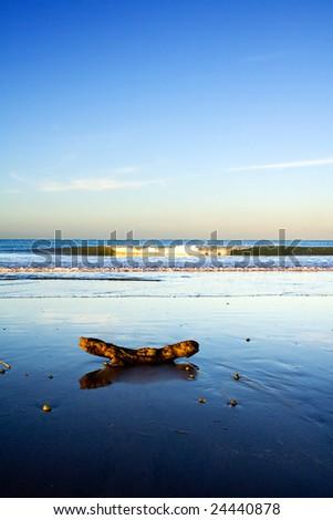 A beautiful beach scene at dusk, Taipa Beach, Northland, New Zealand - stock photo