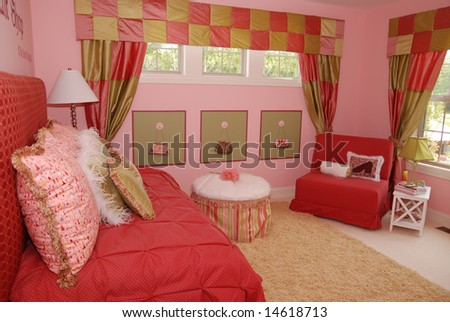 A beautiful bedroom interior for a child - stock photo
