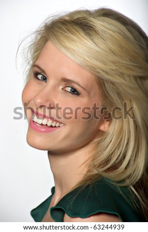 A beautiful blond model laughing - stock photo