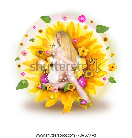 A beautiful blond woman is sitting in a sunflower with an abstract assortment of flowers and leaves behind her on a white background. - stock photo