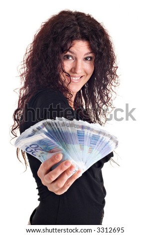 A beautiful brunette showing a lot of money. White background. - stock photo