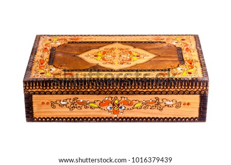 a beautiful bulgarian wooden inlaid box isolated over a white background