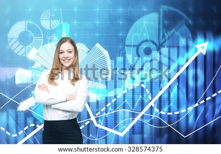 A beautiful business lady with crossed hands is going to provide financial services. Financial charts on the background. A concept of financial consultancy.