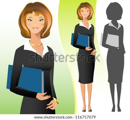 A beautiful business woman wearing  a suit and smiling. - stock photo