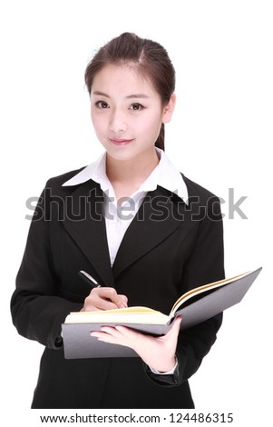 A Beautiful Business womanIsolated On a White background. - stock photo