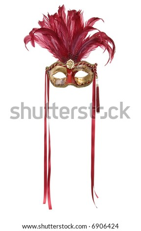 A beautiful carnivale mask from venice Italy. Isolated on white - stock photo