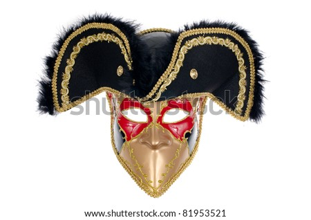 A beautiful carnivale mask Isolated on white background.