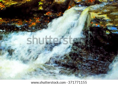 A beautiful cascade waterfall in Autumn - located in the Poconos of Pennsylvania, transformed into a colorful pointillism style painting - stock photo