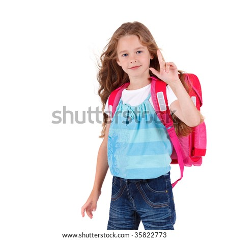 A beautiful caucasian girl with happy expression goes to school on white background