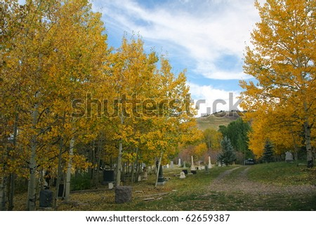 A beautiful cemetery in the fall time