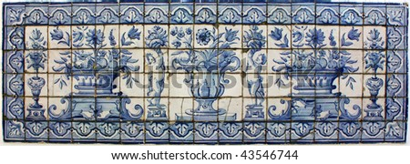 A beautiful ceramic tile pattern in blue and white - stock photo