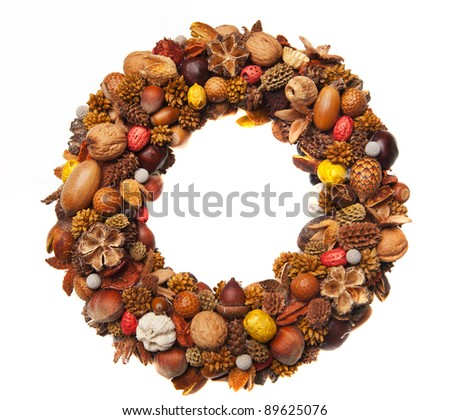 A beautiful christmas wreath made of various dry fruits - stock photo