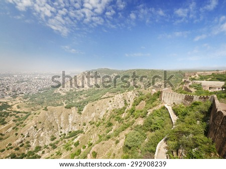 A beautiful city view from a fort at jaipur - stock photo