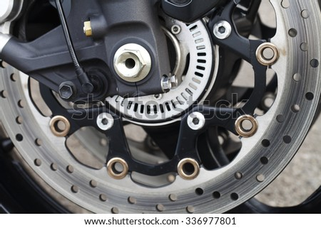 a beautiful close-up details of a motorcycle - stock photo