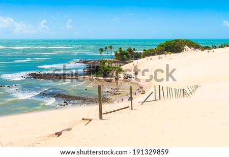 A beautiful coast at Dunes of Genipabu in Natal, Brazil - stock photo