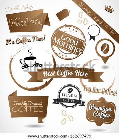 A beautiful collection of a coffee badges, stamps, emblems and banners - stock photo