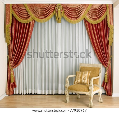 A beautiful curtain and empty space in a luxury living room - stock photo