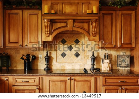A beautiful custom remodeled kitchen - stock photo
