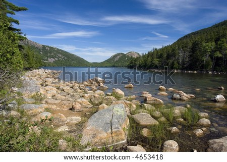 A beautiful day at Jordan Pond in Acadia National Park, Maine - stock photo