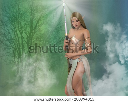 A beautiful elf sorceress with a light staff. Green and blue woodland background with smoke surround her. - stock photo