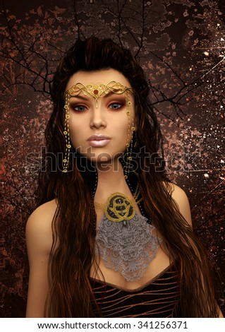 A beautiful fantasy queen of nature with warm autumn colors.  - stock photo