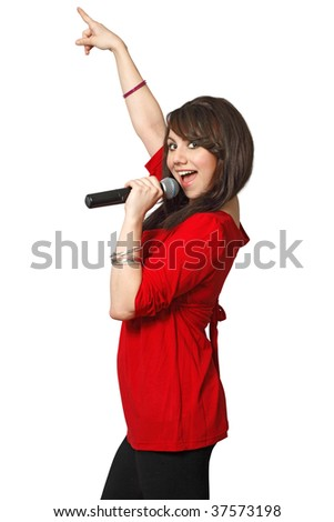 A beautiful female singing into a microphone. Isolated on white background. - stock photo