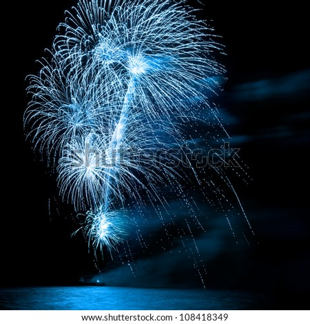 A beautiful firework over the water in the night sky - stock photo