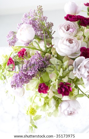 A beautiful flower arrangement in a vase - stock photo
