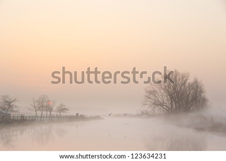 A beautiful foggy morning in early spring - stock photo