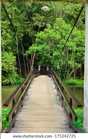 a beautiful front view of a peaceful little wood bridge and a path towards a forest - stock photo