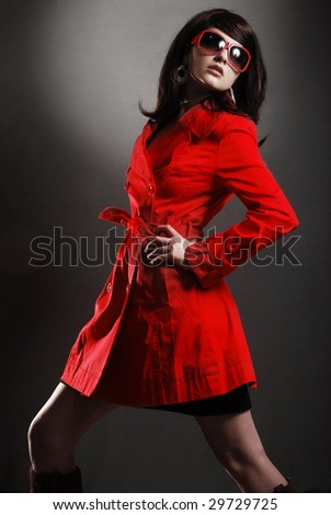 A beautiful funky 60's retro model posing.