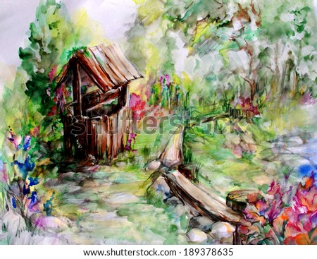 A beautiful garden with flowers, trees, benches and old well in a rustic style. Green foliage, bright flowers and light air graphics create a romantic mood.