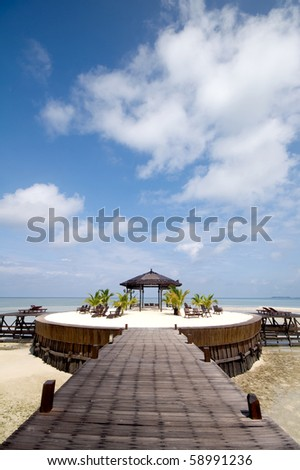 a beautiful gazebo near beach