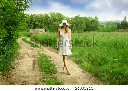 a beautiful girl in the country - stock photo