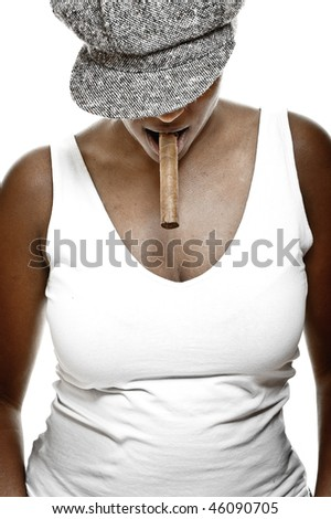 a beautiful girl of african descent with hat and a cigar - stock photo