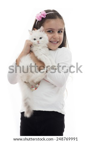 A Beautiful Girl Smiling with Her Cat Isolated on White Background - stock photo