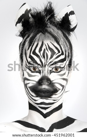 a beautiful girl with makeup zebra