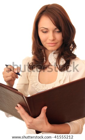 A beautiful girl works with documents. - stock photo