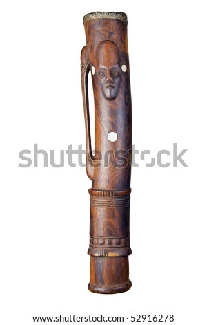A beautiful hand made kundu drum from Papua New Guinea. Isolated over white with clipping path - stock photo