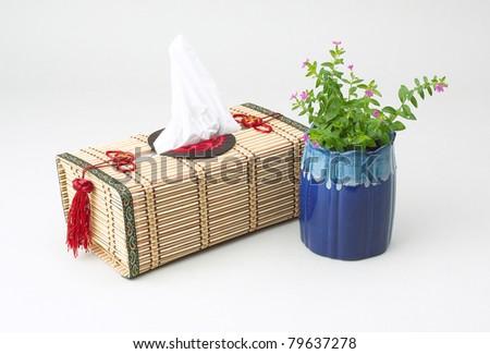 A beautiful handmade bamboo tissue paper box - stock photo