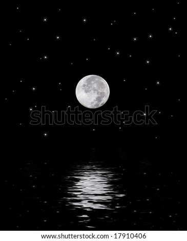 A beautiful harvest moon over a star filled sky reflecting off the water. - stock photo