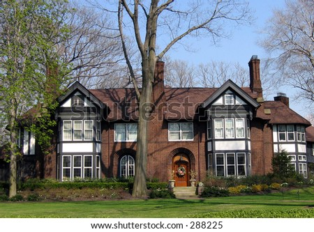 A beautiful home in Shaker Heights, Ohio. - stock photo