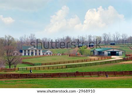 A beautiful horse ranch near Lexington Kentucky USA. - stock photo