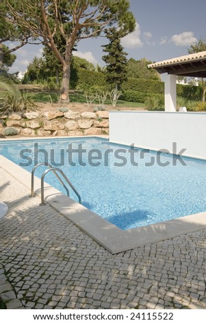 a beautiful house with a pool at Algarve, Portugal - stock photo