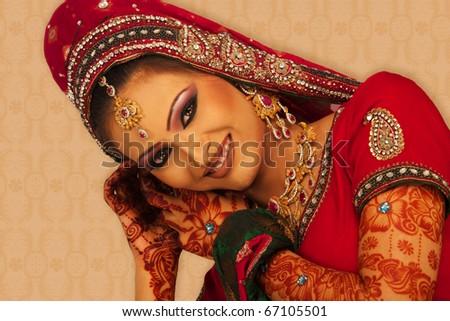 A beautiful Indian bride. - stock photo