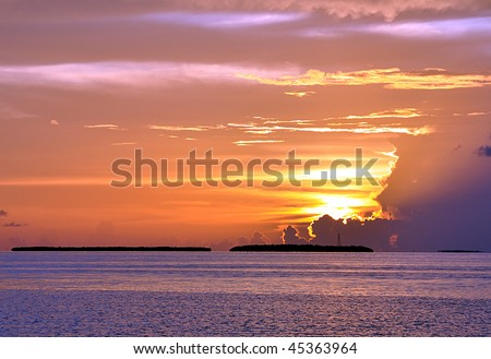 A Beautiful Key West Sunset - stock photo