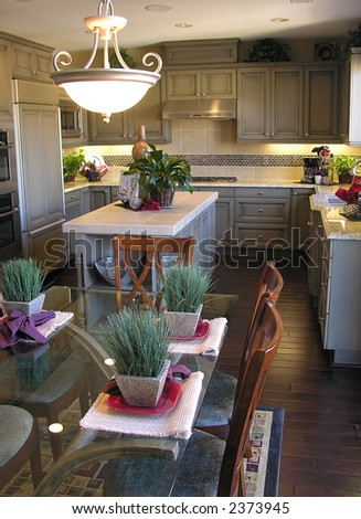 A beautiful kitchen and dining room interior