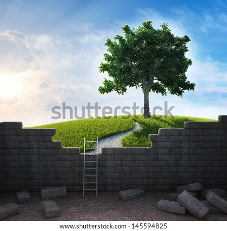 A beautiful landscape beyond the wall - freedom and opportunity concept - stock photo