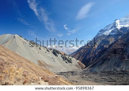 A beautiful landscape near Tilicho lake  in Nepal - stock photo
