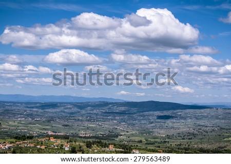 A beautiful landscape of the rural Portugal in the Serra de Estrella region - stock photo